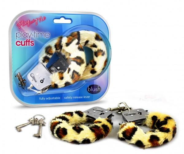Playtime Cuffs Leopard Print Fur