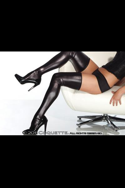 Wet Look Thigh High Black Os