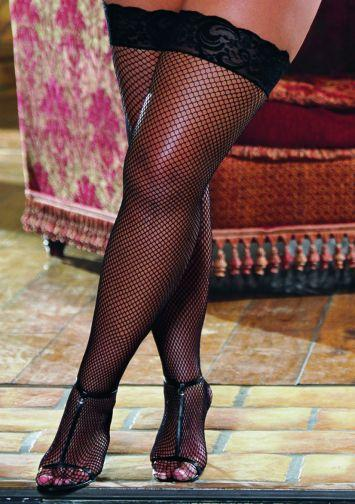 Thigh High Fishnet Lace Black Os Queen seville