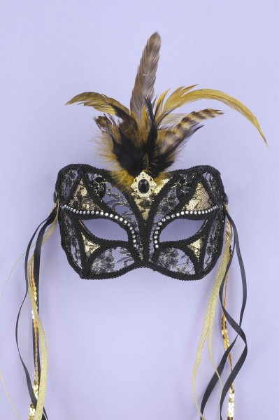 Mask Black /gold Lace