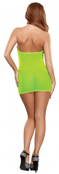 Mesh Tube Dress & G-string Set Lime O/s (black Light)