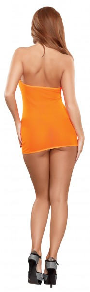 Mesh Tube Dress & G-string Orange O/s (black Light)