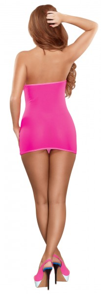 Mesh Tube Dress & G-string Pink O/s (black Light)
