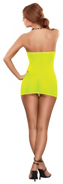 Mesh Tube Dress & G-string Yellow O/s (black Light)