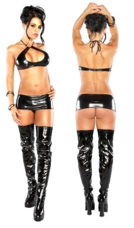 Halter, Mini Skirt, & G Black S/m