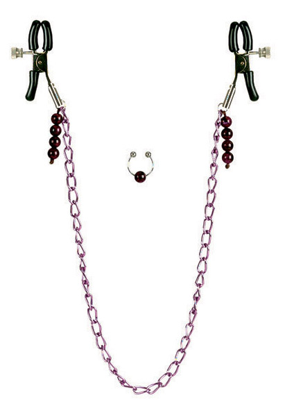 Nipple Clamps Purple Chain