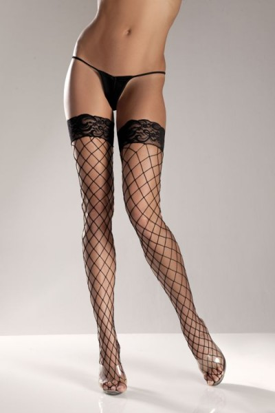 Black Spandex Thigh High Fence Net W/ Stay Up Lace T0p