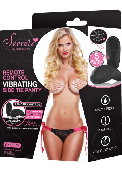 Panty Side Tie Vibrating W/remote Blk/pnk O/s