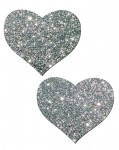 Pastease Hearts Silver Glitter