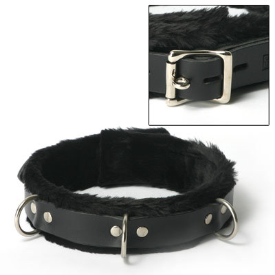 Leather Collar Fur Lined 1 Wide